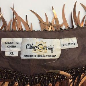 Vintage Tops - Vintage Oleg Cassini Bronze Gold Sequin Top Blouse